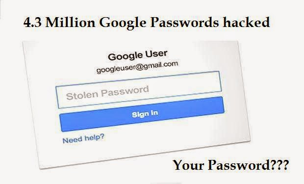 4.3 million Google passwords have been leaked by the Russian Hackers