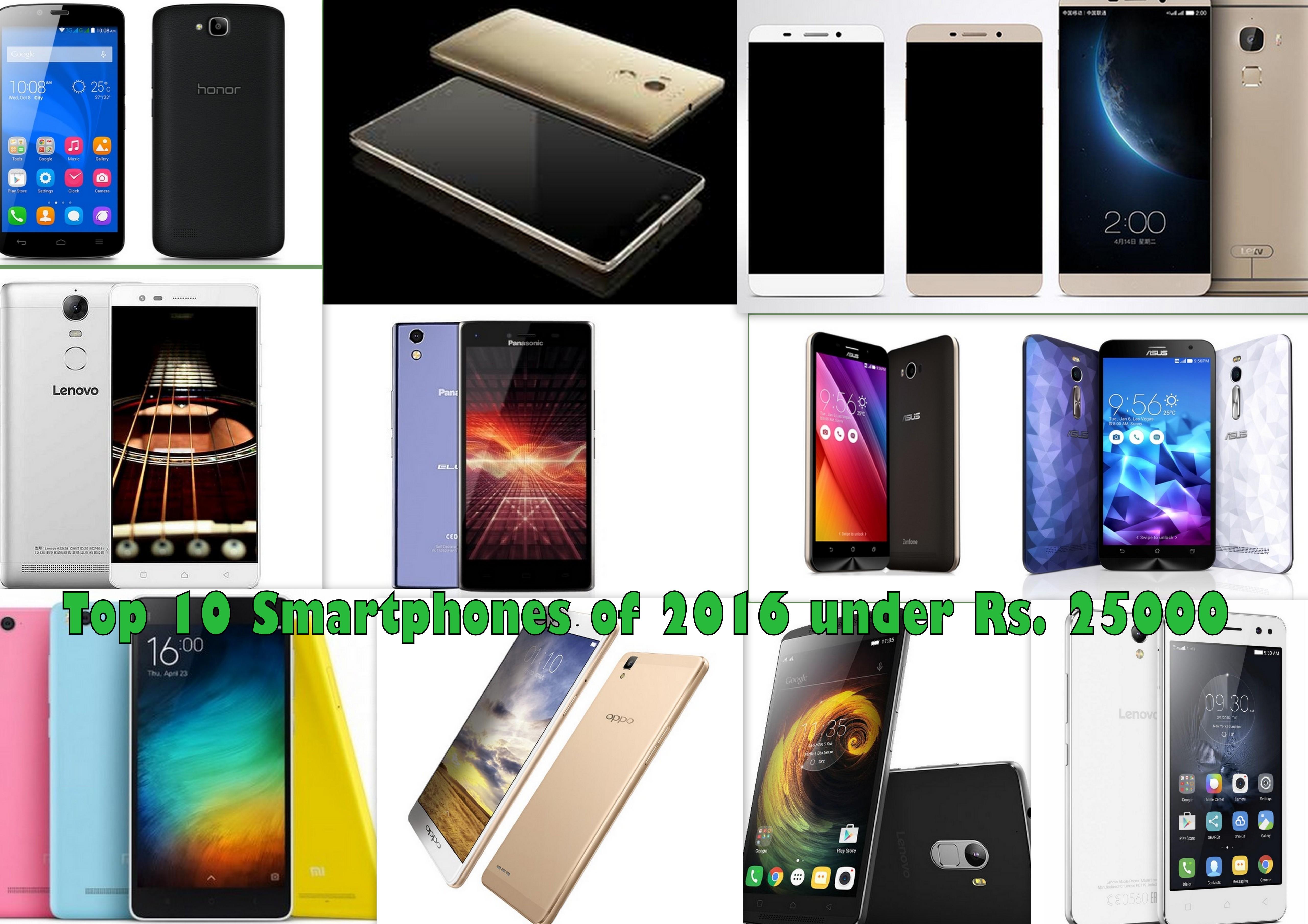 Best 10 Smartphones of 2016 under Rs. 25000