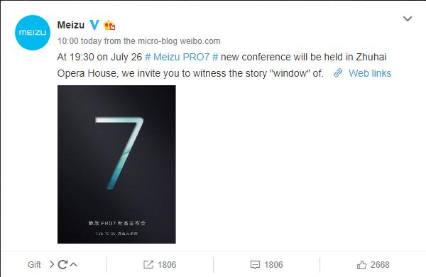 Meizu Pro 7 launch Invitation on Weibo