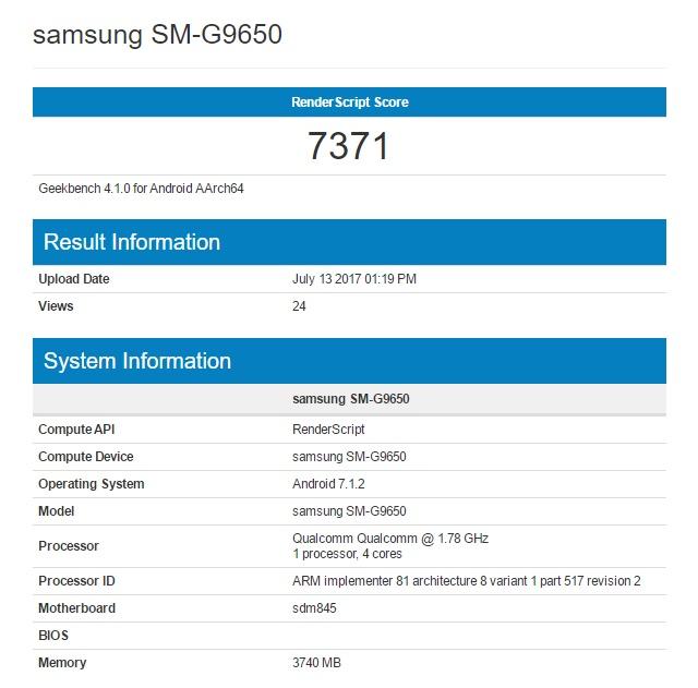 Samsung Galaxy S9 geekbench