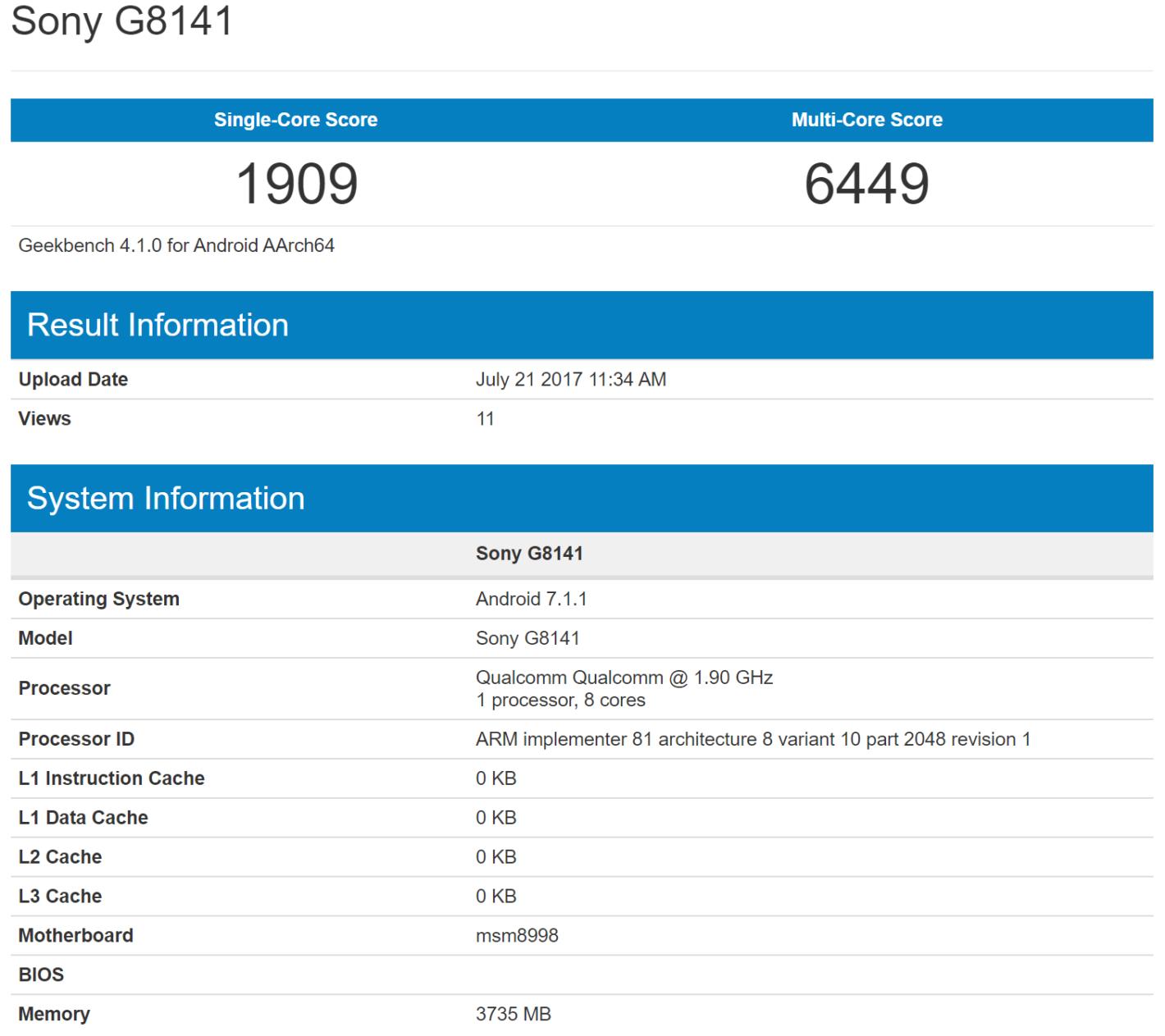 Sony G8141 Geekbench