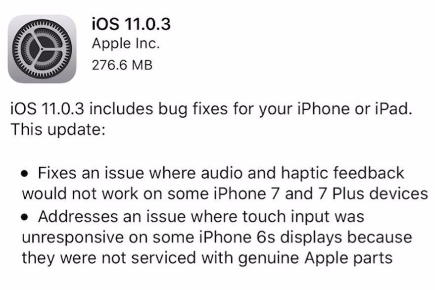 Apple iOS 11.0.3