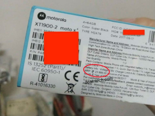 Moto X4 leaked box