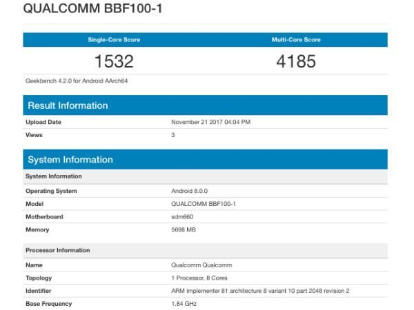 BlackBerry KEYone successor with 6GB RAM spotted on Geekbench