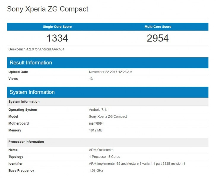 Sony Xperia XG Compact