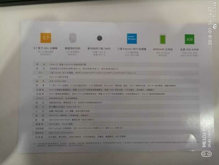 Meizu M6s Specs Leaked Ahead Of Launch