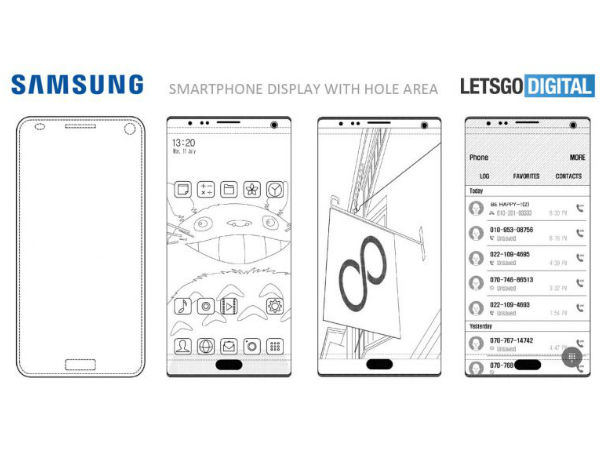 Samsung files patent for smartphone display with hole area